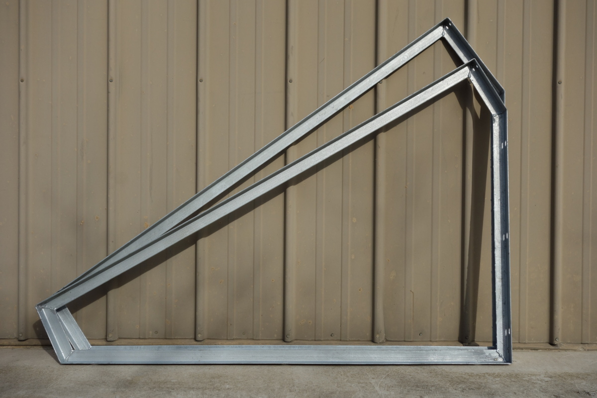 Comparison of the 30°/60° slope mounting frame and the 36°/54° slope mounting frame. Mounting frames are welded steel that has been galvanized after welding.