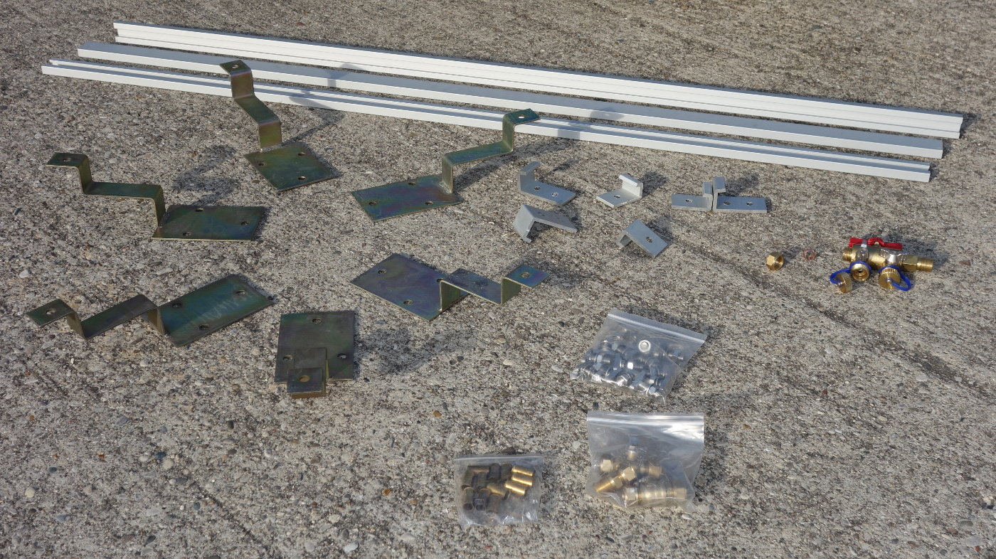 Components included in the sloped roof mounting kit.